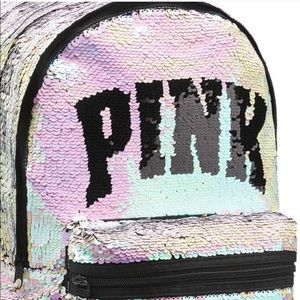 Pink Victoria's Secret Sequin Bling Backpack